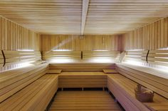 Large, beautiful two-tier sauna interior