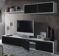 Aida TV Unit Living Room Furniture Set Media Wall Black on White Gloss Melamine