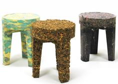 The amalgamation of interior elements forms new stools. Furniture from Abandoned Household Items by Joost Gehem. Patio Furniture Redo, Eco Furniture, Sustainable Furniture, Recycled Furniture, Farmhouse Furniture, Classic Furniture, Sustainable Design, Furniture Makeover, Furniture Design