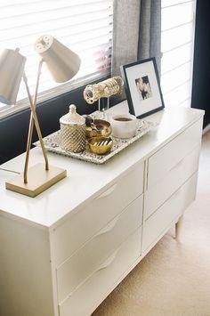 white mid-century dresser