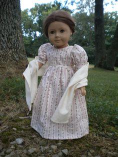 1810 American Girl 18 inch doll Regency Dress with Shawl