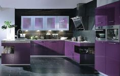 Purple kitchen w/ a black floor. Slate will look amazing. Wow Deanna a purple fridge!!!
