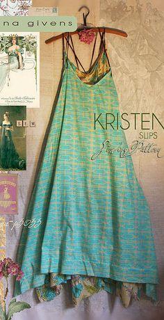 Kristen Slip Dress sewing pattern. Make in light fabric for a floaty versatile garment.