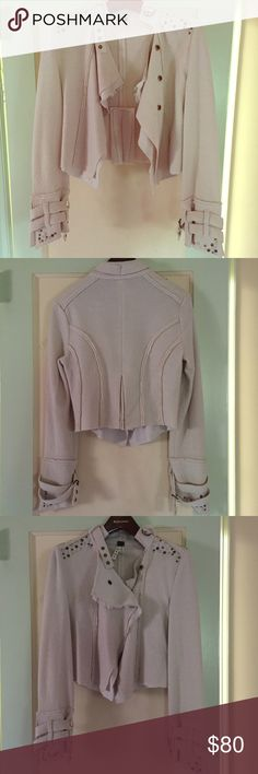 Free People Cream Military Jacket XS Light weight but fabulous- such a unique piece. Cream colored. Moto military jacket for wearing over any outfit. Worn once- in excellent condition ! Free People Jackets & Coats