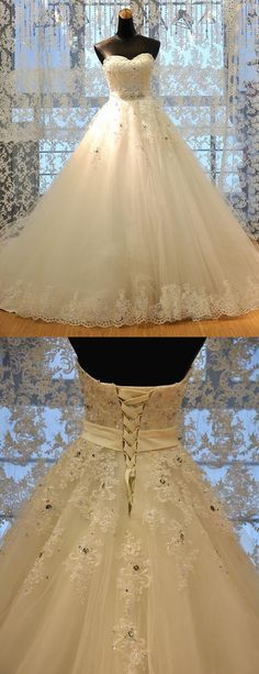 Gorgeous Sweetheart Appliques Beading Bridal Dress, Chapel Train Wedding Dresses Bride Gowns