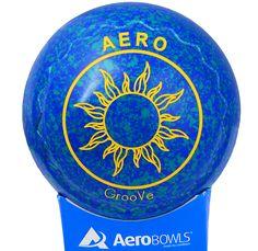 Aero GrooVe lawn bowl in Aqua color. Sun logo.