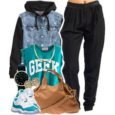 "Jordan ""Aquas"", Beige Purse, Gold Earrings/Necklace, Black/Gold Watch, ""Geek"" Muscle Tank, Black Harem Pants, Denim Vest Jacket"
