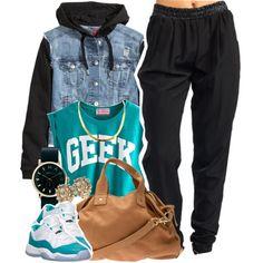 "Jordan ""Aquas"", Beige Purse, Gold Earrings/Necklace, Black/Gold Watch, ""Geek"" Muscle Tank, Black Harem Pants, Denim Vest Jacket"