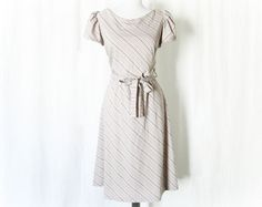 Vintage 80s Diagonal Striped Puff Sleeve Dress Belted Gray Knee Length by PopFizzVintage on Etsy