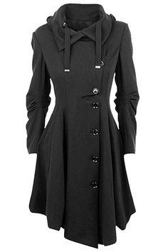 Elegant Single-Breasted Black Gothic Coat