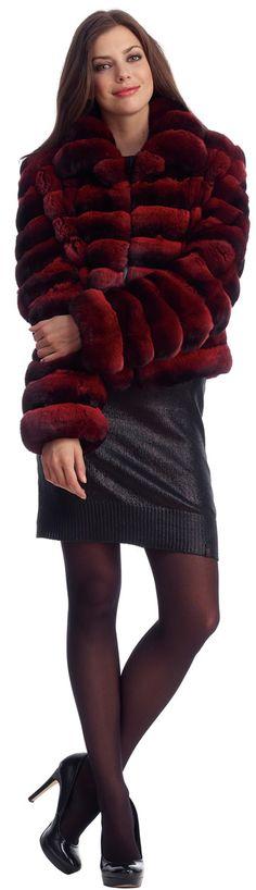 Burgundy Chinchilla Fur Jacket
