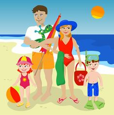 Illustration about Family of four enjoying a day at the beach. Illustration of family, sports, children - 19470770 Drawing For Kids, Art For Kids, Free Vector Images, Vector Free, Travel Agency Logo, Beach Drawing, Happy Women, Image Sharing, Family Photos