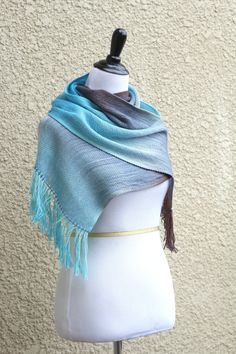 Hand woven long scarf with gradually changing colors from soft blue to chocolate brown.  On the last photo you can see that this scarf might have different look and colors ... #kgthreads #pastel