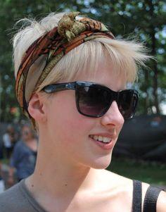 head scarf over super-short hair