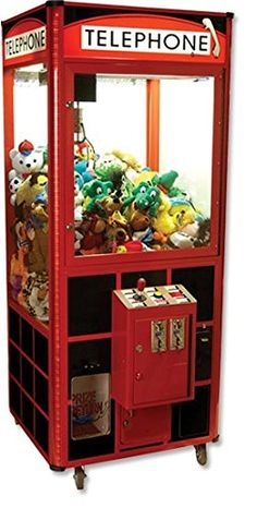 Single Player Crane that features: All Steel Cabinet. Attractive Running Lights. Telephone Booth Graphics. Programmable Pricing and Options. Electronic Sounds.