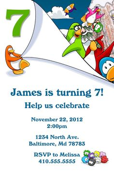 Personalized Club Penguin Invitation by AxiomStationery on Etsy, $10.99