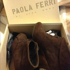 Brown suede booties (wedges) Brown suede booties. Bought from posher but they fit too tight. Gorgeous booties 😃 Paola Ferri Shoes Ankle Boots & Booties