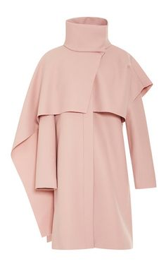 Draped Tie Neck Wool Blend Coat by THAKOON Now Available on Moda Operandi
