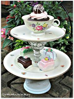 Vintage Teacup Pedestal Stand / Jewelry by GardenWhimsiesByMary, $38.00