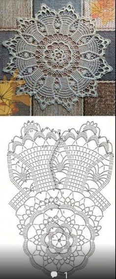 Free Crochet Doily Patterns, Crochet Doily Diagram, Crochet Chart, Thread Crochet, Filet Crochet, Crochet Motif, Crochet Designs, Crochet Stitches, Crochet Round