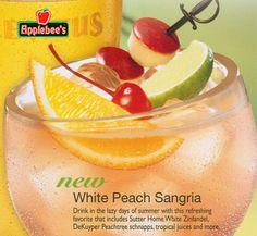 One glass-White Peach Sangria- 3 oz White Zinfandel, 1 oz. Peach Schnapps, 2 oz Pineapple Juice, and a splash of Sierra Mist. Peach Sangria Recipes, White Peach Sangria, White Zinfandel Sangria, Peach Sangria Recipe Applebees, Margarita Recipes, Simple Peach Sangria Recipe, Peach Sangria Moscato, Peach Schnapps Drinks, Peach Drinks
