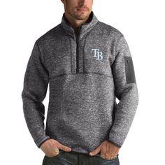 Tampa Bay Rays Antigua Fortune Half-Zip Sweater - Heathered Charcoal
