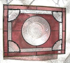 Stained Glass Panel Vintage Depression Glass Sandwich Glass Plate Panel in Heather Pink. $89.95, via Etsy.