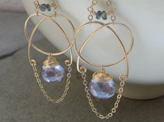 Blue Tanzine Quartz Earrings14K Gold Fill Hand by AdornobyHolly
