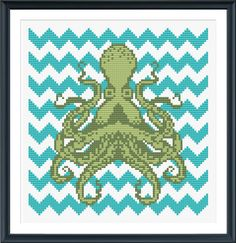 Make a cross stitch octopus with teal chevron pattern on 14-count Aida cloth.  This pattern arrives as an Instant Download!A few minutes after your payment is p