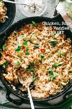 Chicken, Rice and Vegetable Skillet -Deliciously seasoned bed of rice chock-full of chicken pieces, veggies, and so much flavor! Everything you need for a deliciousdinner made in just one skillet!