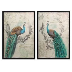 Update your modern or classic decor with this Panache peacock art set, which comes with two prints. The framed canvas pieces feature a soft color scheme and metallic accents for a vintage-style finish.