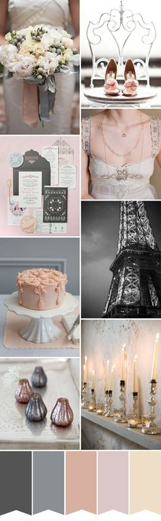 Chic French wedding inspiration  - pale pink, cream, grey, dark gray - a sophisticated wedding color palette for a Paris inspired wedding