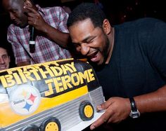 Jerome Bettis and his awesome Steelers themed birthday cake shaped like a bus :)