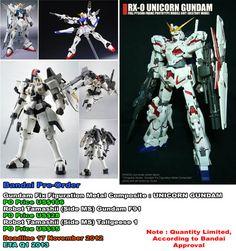 Pre-Order Bandai:  - Robot Tamashii Tallgeese 1 & F91  - GFFMC Unicorn Gundam