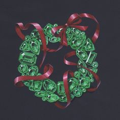 Illustration for Christmas card. Emerald Christmas Wreath with red ribbon /Facebook: www.facebook.com/wooakimdesign