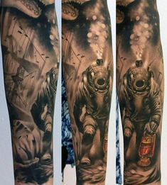 Custom Diver Tattoo On arm for Girls
