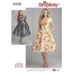 Simplicity 8439 -Create your retro look with these dress patterns sized for both Misses and Women figure types. Dress features two pleated bodice styles with extended sleeves, side zipper and full pleated skirt. Sew Chic for Simplicity sewing patterns. Plus Size Sewing Patterns, Skirt Patterns Sewing, Simplicity Sewing Patterns, Vintage Sewing Patterns, Clothing Patterns, Skirt Sewing, Pattern Dress, Top Pattern, Retro Vintage Dresses