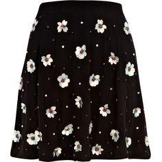 River Island Black 3D sequin flower embellished skirt ($23) ❤ liked on Polyvore featuring skirts, bottoms, sale, black circle skirt, floral skirt, flower print skirt, circle skirt and skater skirt
