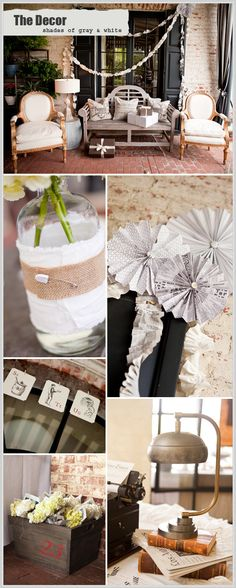 love the simple hydrangeas in old fashioned water bottles get wrapped in white cotton and burlap