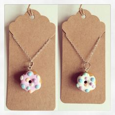 Fimo clay donut necklaces