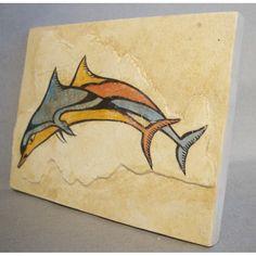 Minoan fresco tile : dolphins from the Flotilla Fresco