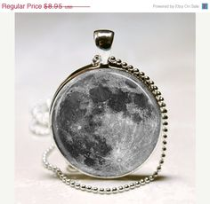 ON SALE Full Moon Necklace Astronomy Solar System Outer space Glass Bezel Art Pendant with Ball Chain Included (ITEM B068). $7.61, via Etsy.