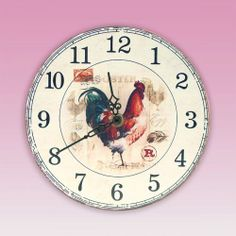 Make sure you are never late with this metal rooster clock from Clover Fields