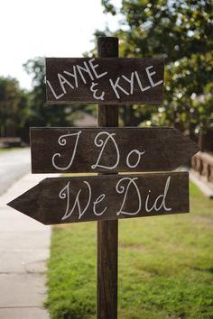 Wedding sign showing the way to ceremony and reception.