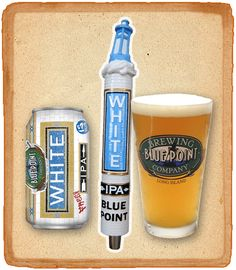 Cerveja Blue Point White IPA, estilo India Pale Ale (IPA), produzida por Blue Point Brewing Company, Estados Unidos. 6% ABV de álcool.