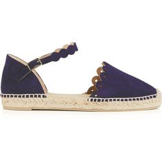 Castaner Karla Laser Cut Suede Espadrilles (£95) ❤ liked on Polyvore featuring shoes, sandals, navy, suede espadrilles, suede sandals, navy espadrilles, castaner sandals and navy blue sandals