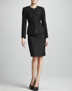 Metallic Tweed Suit by Albert Nipon at Neiman Marcus.  LOVE!!!!