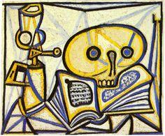 Pablo Picasso - Nature morte avec crâne, livre et lampe à pétrole, 1946.                                                                                                                                                      Plus