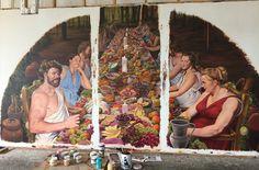 Bacchus, classical, mural, acrylic on canvas, restaurant, celebration, feast.