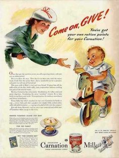 Carnation Milk for Baby Wwii Ration Points (1943)